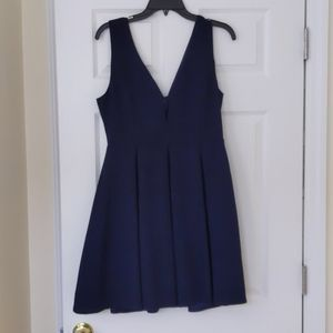 Navy pleated cocktail dress